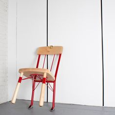 Daniel Ballou's Who's There Chair plays on that false symbol of defense, and makes it real. The back of the chair is steel and has leveling feet (like an extension ladder), while a notch in the backrest is at the perfect height to interface with a doorknob. Rubber grips on the feet keep it in place.Sculptural. Functional. Safe—until the first swat of an axe hits the door.
