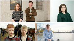 Clockwise: Éabha Campbell, baker and Conor O'Flaherty, entrepreneur; Eilís Barrett, author; Harry McCann, entrepreneur; Liam and Paddy Doran, models