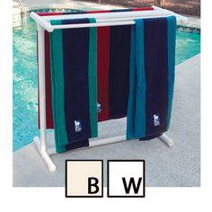 """This looks easy to make. I'm not sure why it is called """"designer"""". It's made of PVC pipe. 5 Bar Designer PVC Pool Spa Towel Rack by heather Pvc Pool, Pool Spa, Pvc Pipe Projects, Outdoor Projects, Diy Projects, Piscina Diy, Towel Rack Pool, Towel Racks, Living Pool"""