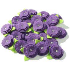 Felt Flower Embellishments - Dark violet Set of 10 pieces ($5) ❤ liked on Polyvore