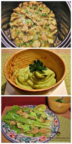 Crock Pot Chile Verde Tacos with Avocado Cilantro Lime Cream Sauce / primal, paleo and low carb/ beautyandthefoodie.com