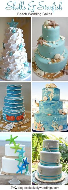 Love these Beach Style wedding cakes from the Exclusively Weddings Blog