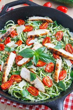 """Pesto Zucchini Noodles with Roasted Tomatoes and Tofu """"Chicken"""""""