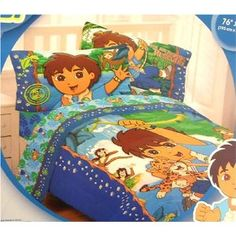 Full animals go diego comforter boys jaguar double for Go diego go bedding