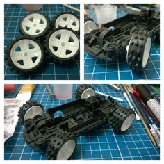 Building the Mini 4WD Hot Shot Military camo custom - making the front wheels slightly turned