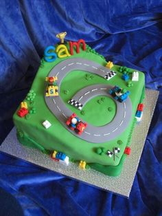 Lego race car cake.  What more could a boy want??  #birthday #boy #cars