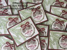 Stampin Up Christmas Pines stamp set and Pretty Pines thinlits. Kim Williams, Stampin With Kjoyink, Pink Pineapple Paper Crafts. Christmas card idea in non traditional colors. Metalic foil doily for shine. Two step stamping technique. Stampin Holiday Catalog 2016-2017