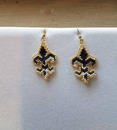 SALE Hand Beaded Fleur-de-lis Black White and Gold Earrings