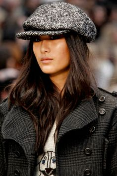 Glowy cheeks are a Must for Fall/Winter Burberry Fall 2012 RTW - love the school boy cap.