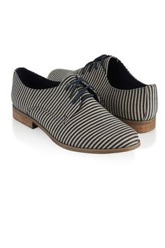 13 Affordable Flats For Work: Nothing Over $100! #refinery29  http://www.refinery29.com/affordable-work-flats#slide6  Forever21 Striped Oxfords, $24.80, available at Forever21.