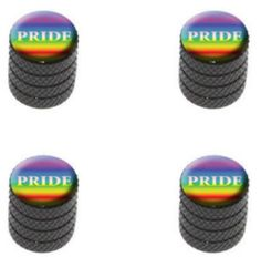 """Amazon.com : (4 Count) Cool and Custom """"Diamond Etching Pride Rainbow Top with Easy Grip Texture"""" Tire Wheel Rim Air Valve Stem Dust Cap Seal Made of Genuine Anodized Aluminum Metal {Puma VW Black Color - Hard Metal Internal Threads for Easy Application - Rust Proof - Fits For Most Cars, Trucks, SUV, RV, ATV, UTV, Motorcycle, Bicycles} : Sports & Outdoors"""