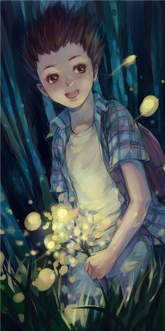 Tags: Anime, Little Boy, Backpack, Hunter x Hunter, Gon Freaks, Fireflies, Realistic
