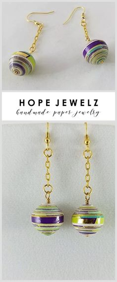 Dangle with Gold - 14K Gold Plated Ear Wire and Chain Earrings with Hand Rolled Paper Beads