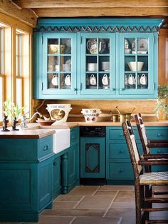 teal/Blue Kitchen by Decoria Studio i like the idea of this kitchen