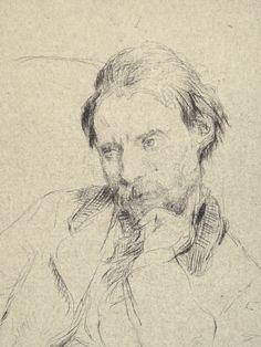 Desboutin Marcellin - Portrait de Renoir, drypoint (détail)