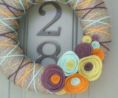 Yarn Wreath Felt Handmade Door Decoration - Inspired 12in