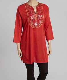 Another great find on #zulily! Red & Gold Embellished Tunic - Plus #zulilyfinds