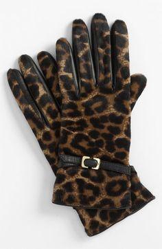 Diane von Furstenberg Buckled Calf Hair Gloves | Nordstrom