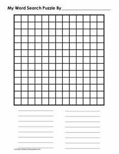 13 x 13 Blank Word Search Health And Physical Education, Differentiated Instruction, English Language Learners, Games For Kids, Social Studies, Word Search, Puzzles, Free Worksheets, Learning