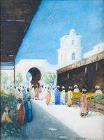 Moroccan market scenes pair by Hans Jacob Hansen
