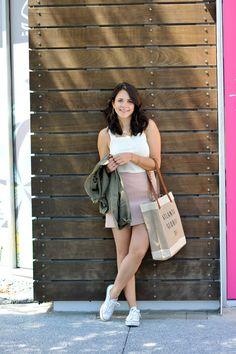 lace up blush mini skirt, casual summer outfit ideas - My Style Vita @mystylevita