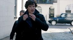 [GIF] Benedict Cumberbatch as Sherlock, throwing back his scarf, and as Doctor Strange throwing back his cape.