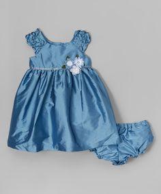 Look at this #zulilyfind! Blue Shantung Holiday Dress & Diaper Cover - Infant, Toddler & Girls #zulilyfinds