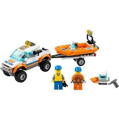 Save the day with the LEGO City Coast Guard and Diving Boat! Launch the boat, put on the diving gear and splash into the water. Lego Auto, Lego 4, Lego Toys, Cool Lego, Lego Coast Guard, Lego City Fire Station, Amazon Lego, Best Lego Sets, Lego Building Sets