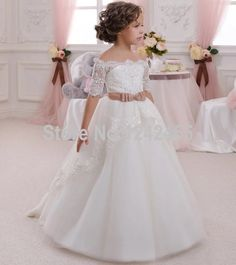 Beaded Half Sleeves Off The Shoulder Ball Gown Tulle Flower Girl Dress First Communion Dresses For Girls With Sash PF14