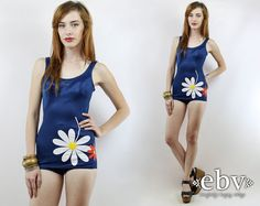 #Vintage #60s #Mod Navy Floral One Piece #Swimsuit, fits XS/S by #shopEBV http://etsy.me/1UsMnbs via @Etsy #60sfashion #60sstyle #summer
