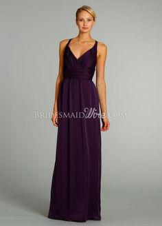 plum chiffon draped v neck a-line long bridesmaid dress