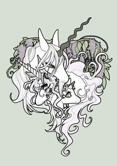 Unicorn with foals..cute idea for a tattoo