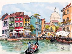 Venetian Canal Sketch in Venice, Italy