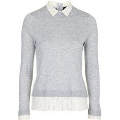 TOPSHOP Hybrid Shirt Jumper ($40) ❤ liked on Polyvore featuring tops, sweaters, jumpers, knit sweater, store, grey marl, layered sweater, lace sweater, marled sweater and topshop jumper