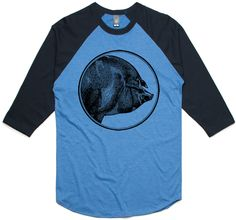 theIndie Hog's Portrait (Black) 3/4-Sleeve Raglan Baseball T-Shirt