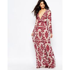 For Love and Lemons Temecula Embroidered Maxi Dress in Red ($265) ❤ liked on Polyvore featuring dresses, red, red lace dress, tall maxi dresses, white fitted dress, lace dress and red dress