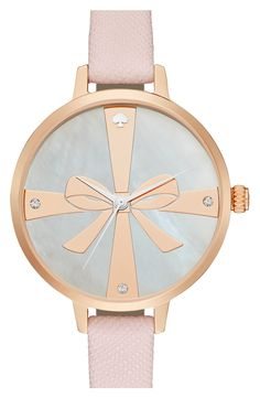 This pink and rose gold Kate Spade watch is so pretty - love the bow design and the surrounding sparkling crystals.