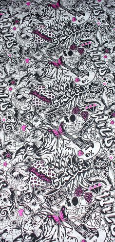 Girl Rock Star & Tattoos Fabric / Goth, Emo, Punk, Rockabilly 4 yards for MordikaiCreations Phone Backgrounds, Wallpaper Backgrounds, Casa Halloween, Girl Skull, Skull Art, Rockabilly Looks, Awareness Tattoo, Graffiti Words, Skull Fabric