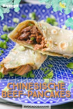 Chinesische Beef Pancakes - AvocadoBanane Avocado, Asian Recipes, Ethnic Recipes, Food Inspiration, Mexican, Cooking, Banana, Meat Rubs, Easy Summer Meals
