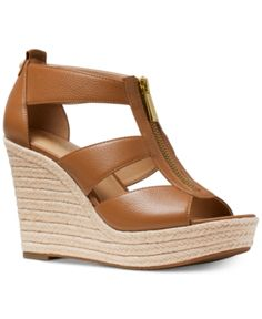 367fa54babe Michael Michael Kors Damita Platform Wedge Sandals - Brown Brown Wedge  Sandals
