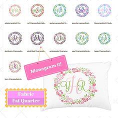 Monogram Custom Fabric Fat Quarter Home Decor Fabric DIY Gift