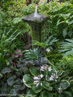 for the garden. Fountain Column Surrounded by Green - Ideas for the garden. Fountain Column Surrounded by Greenery -Ideas for the garden. Fountain Column Surrounded by Green - Ideas for the garden. Fountain Column Surrounded by Greenery - Bog Garden, Shade Garden, Dream Garden, Garden Cottage, Herb Garden, Garden Art, Garden Ponds, Outdoor Water Features, Water Features In The Garden