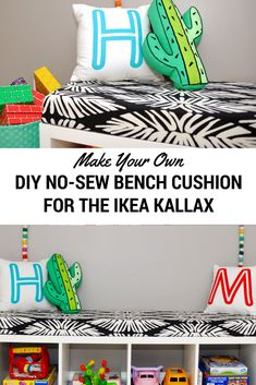 IKEA Hack: Turn Your Kallax into a Bench with an Easy No-Sew Cushion | Kate Decorates