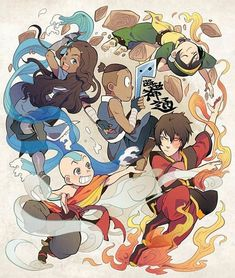 Korra, Aang, Sokka, Zuko, and Toph Avatar: The Last Airbender Avatar Aang, Avatar Airbender, Avatar Legend Of Aang, Team Avatar, Legend Of Korra, Aang The Last Airbender, Zuko And Katara, Animation, The Last Avatar