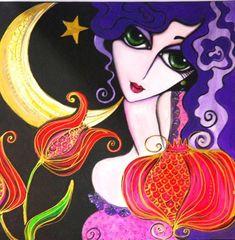 oriental - Painting ©2011 by Yasemin Karabenli - oriental, girl, woman, lady