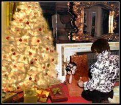 Elvis and Lisa Marie opening presents. This same tree is displayed at Graceland every Christmas.