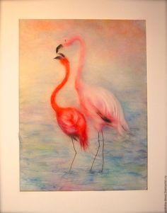 Животные ручной работы. Ярмарка Мастеров - ручная работа. Купить Фламинго - картина из шерсти. Handmade. Картина, картина на заказ