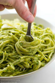 This creamy fettuccine combines the best worlds of both alfredo sauce and fresh pesto into one fresh springtime pasta side dish!