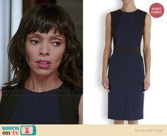 Camille's navy and black dress on Bones.  Outfit Details: http://wornontv.net/37666/ #Bones