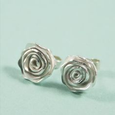 Hey, I found this really awesome Etsy listing at https://www.etsy.com/listing/152663997/silver-rose-earrings-a-pair-of-sterling